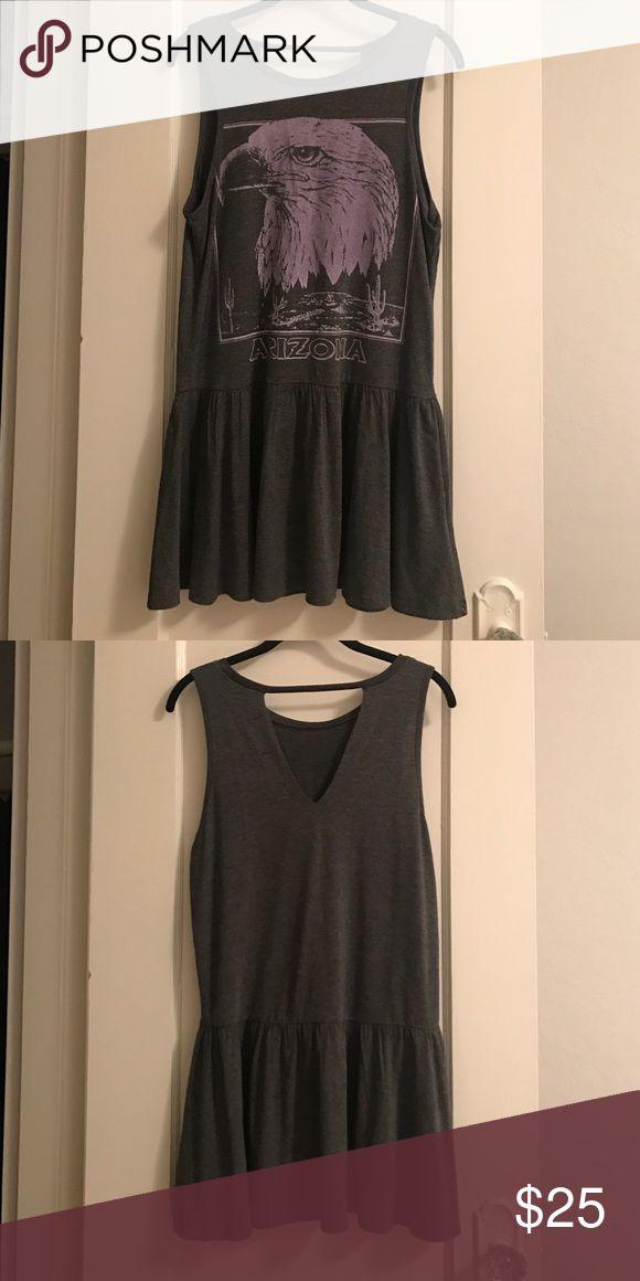 Rocker Drop Waist T-Shirt Dress Grey and lavender, drop-Waist, rock & roll t-shirt dress. Only worn once MINKPINK Dresses