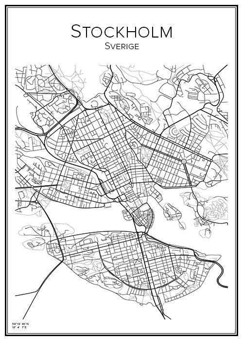 Handritad affisch över Stockholm City. Här kan du beställa stadskarta över din stad och andra svenska samt utländska städer.