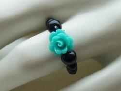 Ring met aqua acryl roosje | Bloem kralen roosjes en ringen | Artasja kralen, bedels en sieraden maken