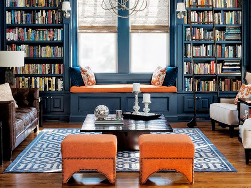 Move over red 'cause navy has a new best friend: orange. The brighter hue is warm and inviting like its crimson cousin. But, when paired with deep blue, it's less expected and more cheerful to boot.