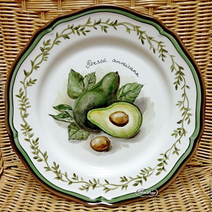 """Купить Тарелка фарфоровая """"Авакадо"""" - тёмно-зелёный, тарелка, Тарелка декоративная, тарелка сувенирная"""