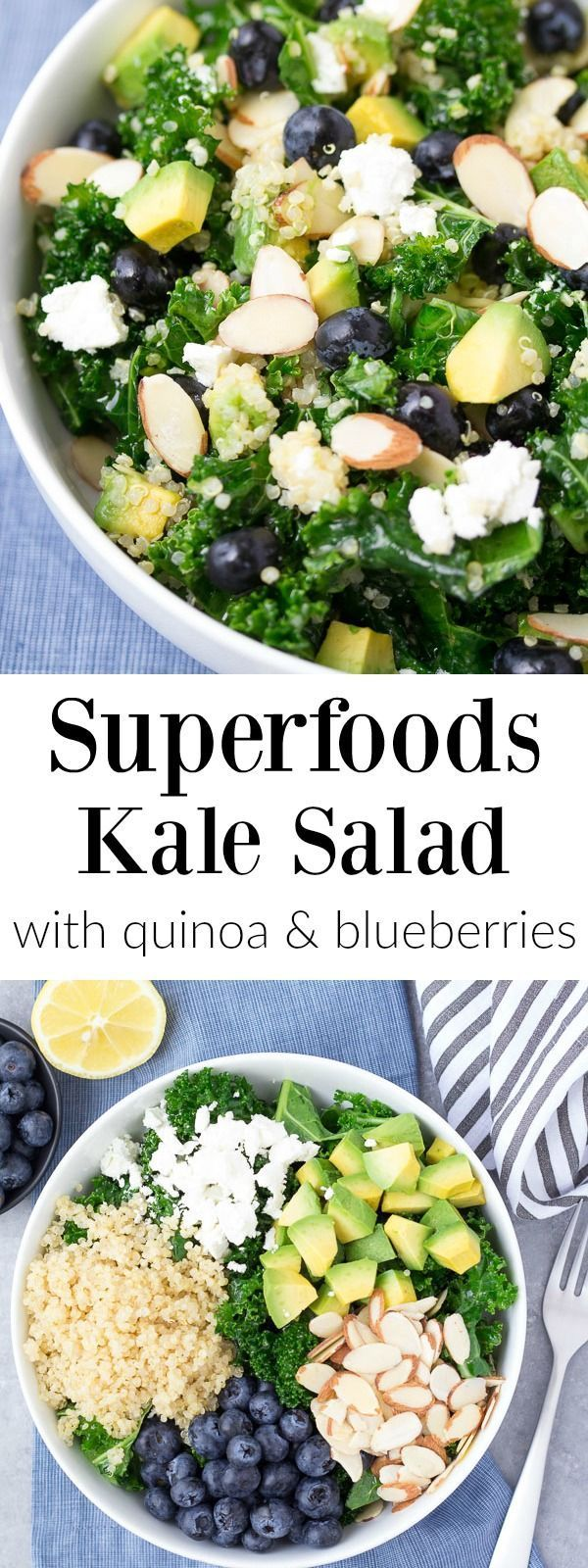 This Kale Superfood Salad with Quinoa and Blueberries is loaded with super foods! This healthy salad is make ahead friendly for quick lunches. Goat cheese, avocado, and a honey lemon dressing bring lo