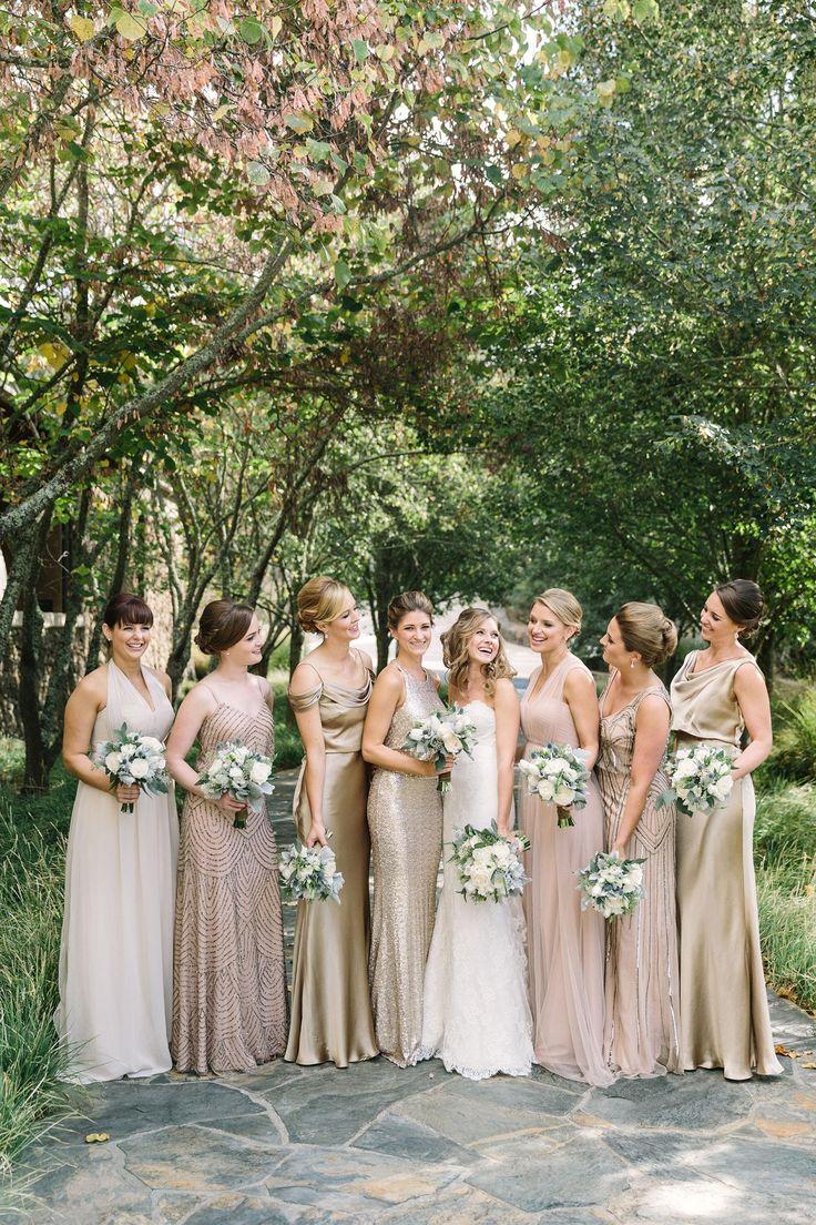 Mismatched metallics, long bridesmaid dresses, gold satin, beaded blush, glittery goddesses // The Edges Wedding Photography