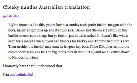 On Cheeky Nandos: | 47 Times Australians Nailed It On Tumblr In 2015 -- I honestly hate that I understood that too.