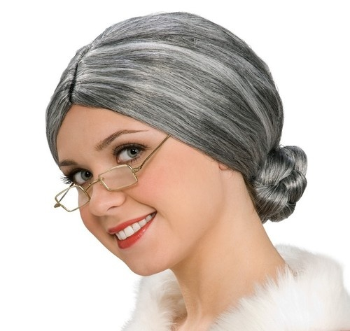 New Old Lady Grey Gray Wig Bun Costume Accessory Prop Mrs Claus Women Adult   eBay