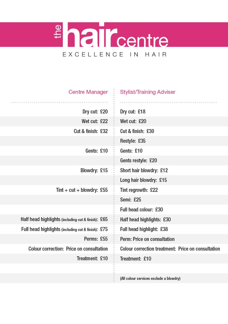 Price list for the salon!