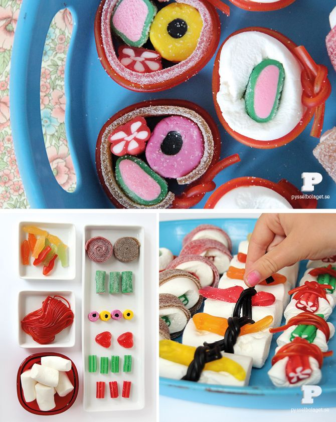 """Candy Sushi- Make """"sushi"""" from candies #kidscrafts Could be a fun way to use up leftover candy!"""