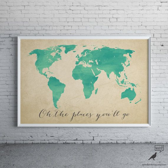 Watercolor Map Oh the places you'll go by WordBirdShop on Etsy