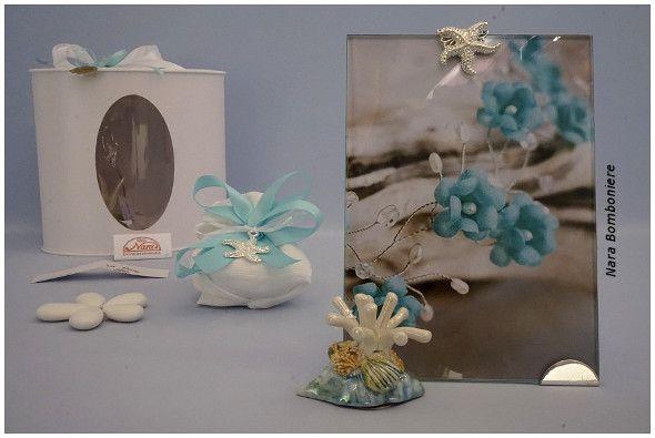Bomboniere matrimonio verde mare, porta foto in vetro e conchiglie di ceramica