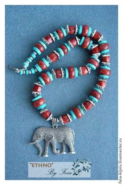 """Ожерелье """"Маджипур"""" с кораллом и бирюзой - красный,бирюзовый,восточный стиль"""