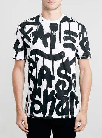 WHITE GRAFITTI PRINT T-SHIRT - Men's Tees & Tanks - Clothing