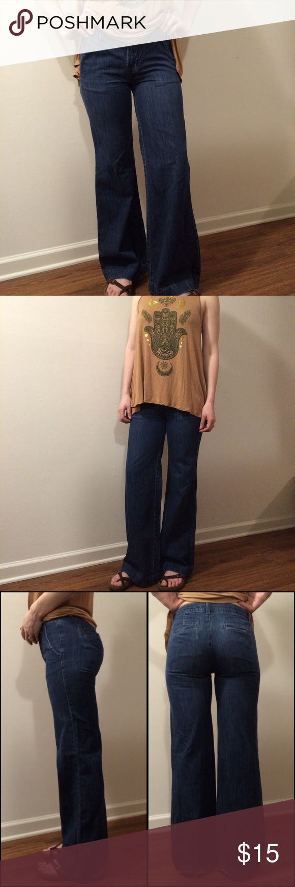 "The Limited Wide Leg Jeans EUC! The only major flaw is the fraying at the leg opening. No stains, rips, or holes! EXTREMELY ADORABLE wide leg, super flared jeans! 💕 Makes your butt look really good! 😉 Very 70s, bohemian vibe. 4 pockets. Inseam: 31"". Length: 39.5"". Rise: 8"". Waist laying flat: 14"". Fits true to size, material does not stretch. Ask questions. OFFERS ARE WELCOME! The Limited Jeans Flare & Wide Leg"