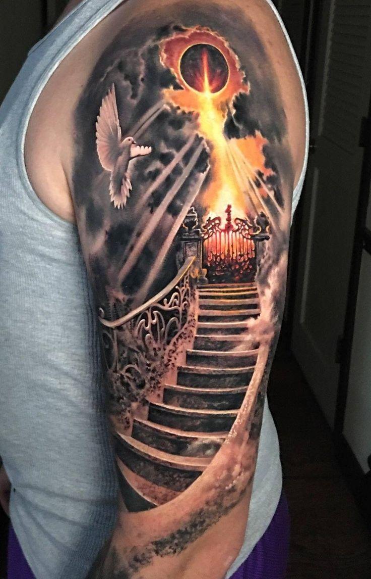 Stairway to Heaven upper arm tattoo – #Arm #dark #Heaven #Stairway #Tattoo #Uppe…