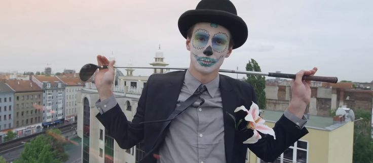 Pretty Sugar Skull boy, blue, golf From the music video, Prayer In C - Robin Schulz & Lilly Wood & The Prick
