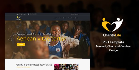 CharityLife – NGO & Charity Fundraising  is a homepage PSD Template especially designed for all type of fundraising organizations and basically NGOs related websites in various fields. This templat... charity, donations, fundraising, homepage, ngo, non-profit