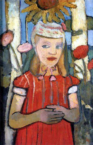 Paula Modersohn-Becker - Girl in a red dress with a sunflower
