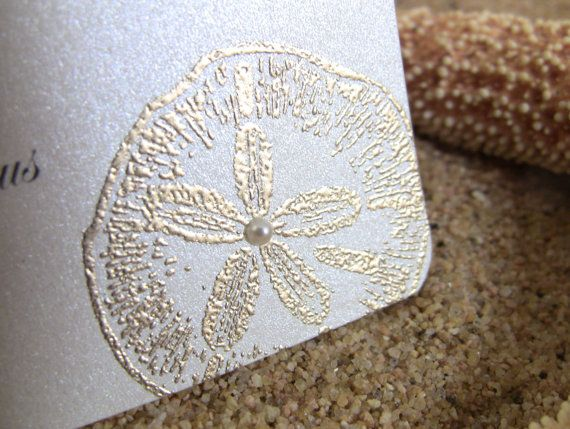 10 Golden Wedding Place Cards / Escort Cards, Embossed, Sand Dollar with Pearl, CUSTOMIZE ANY COLOR, Printed Names Upgrade Possible