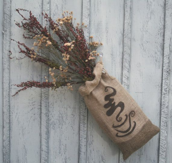 Burlap bag flower arrangement burlap coffee decor by for Decorative burlap bags