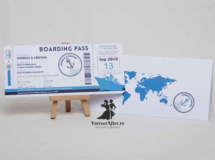 Invitatie de nunta Boarding Pass Cruise - pentru iubitorii de calatorii si mai ales de croaziere | Invitatii de nunta - Moderne | ForeverAfter.ro
