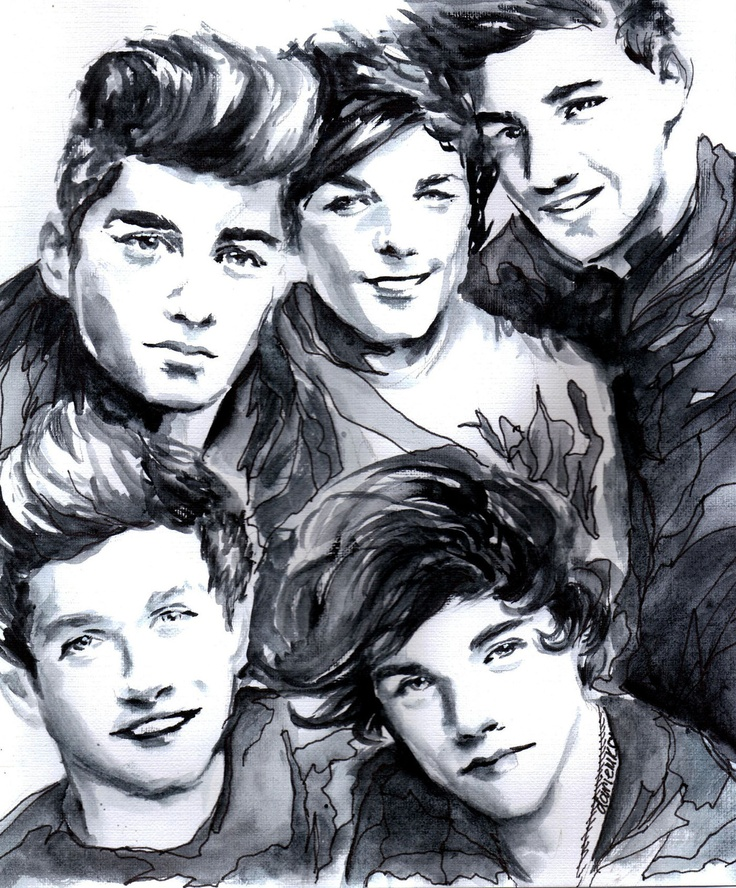 One Direction drawing!!! <3 Whoever drew this is a genius and deserves a national award.