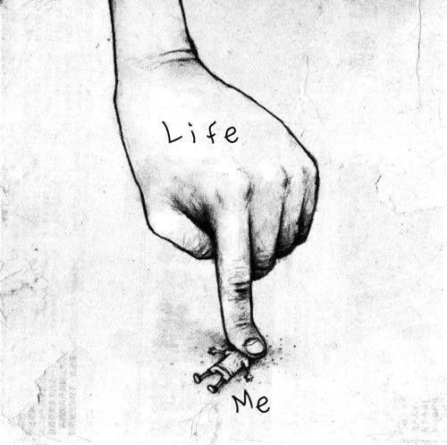 tekening schets life me vinger
