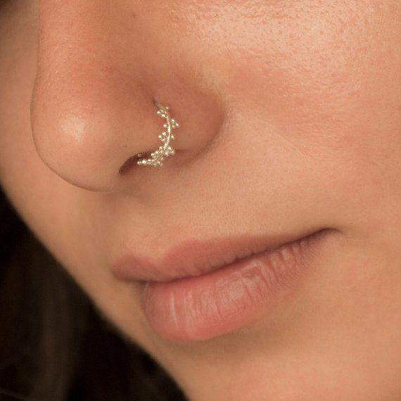 Nose Ring Hoop Tragus Helix Cartilage Earring 14K Solid Rose Gold 24g 7mm