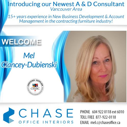 We'd like to give a warm welcome to our newest A & D Consultant, working from our Vancouver Office - Mel Clancey-Dubienski!