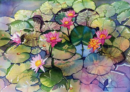"""""""Waterlily Wishes"""" - by Mary Sorrows Hughes.... ~Watercolor"""