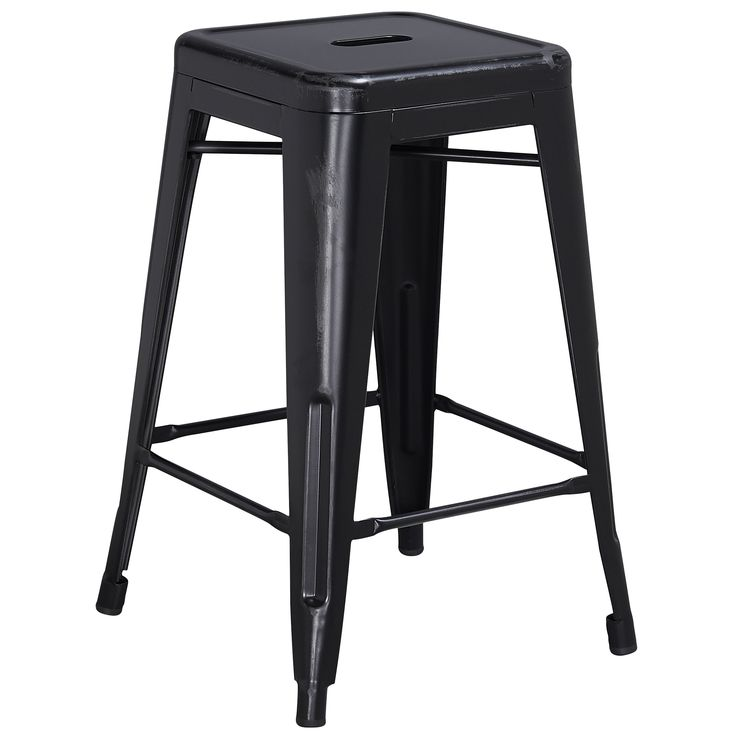 Flash Furniture 24 Inch High Backless Distressed Metal