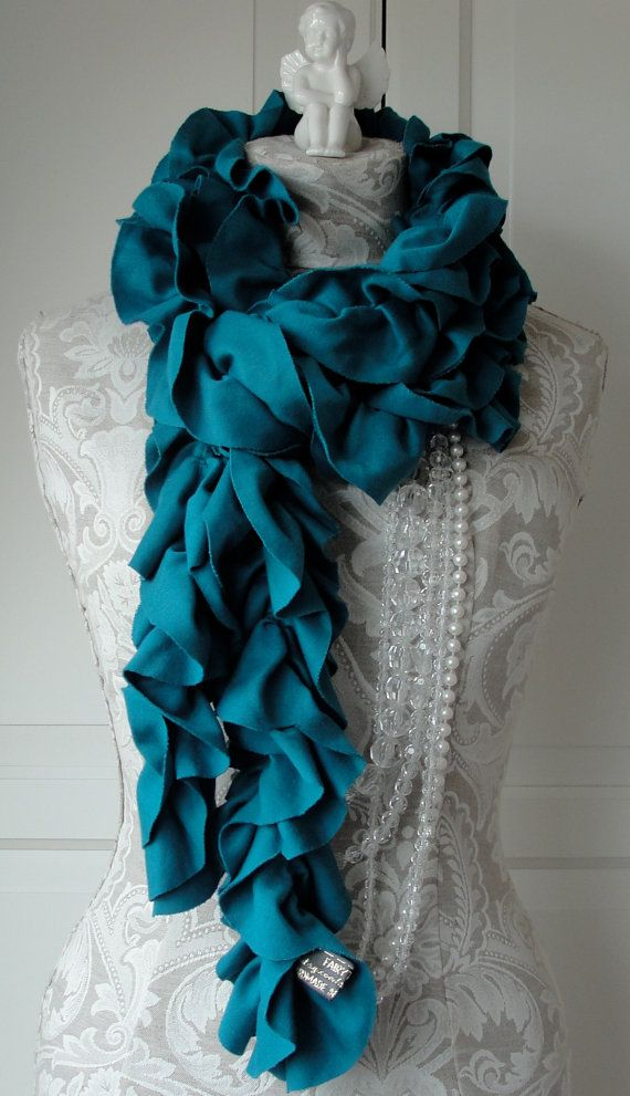 Teal LUXURY petal Scarf by FAIRYTALE13 #etsy   I love scarves : )
