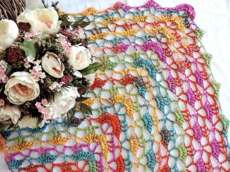 Scarf, shawl, multicolor scarf, shawl from Tahiti Batik Grundl by ColorfullmadeShop on Etsy