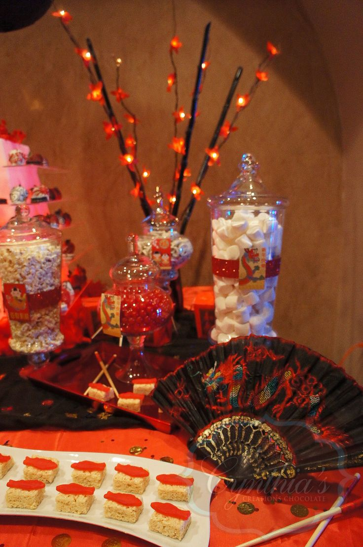 Chinese theme party desert table candy buffet