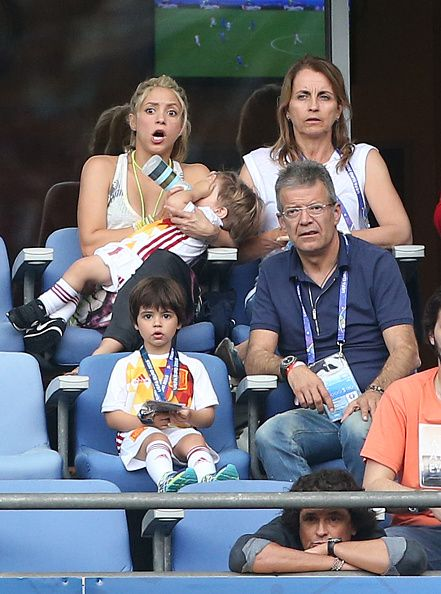 #EURO2016 Shakira wife of Gerard Pique and their two sons Milan Pique Mebarak and the younger Sasha Pique Mebarak along Pique's parents Montserrat Bernabeu and...