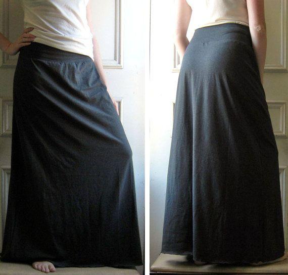 Maxi Skirt Long Cotton Jersey Maxi Skirt Aline  by ellainaboutique