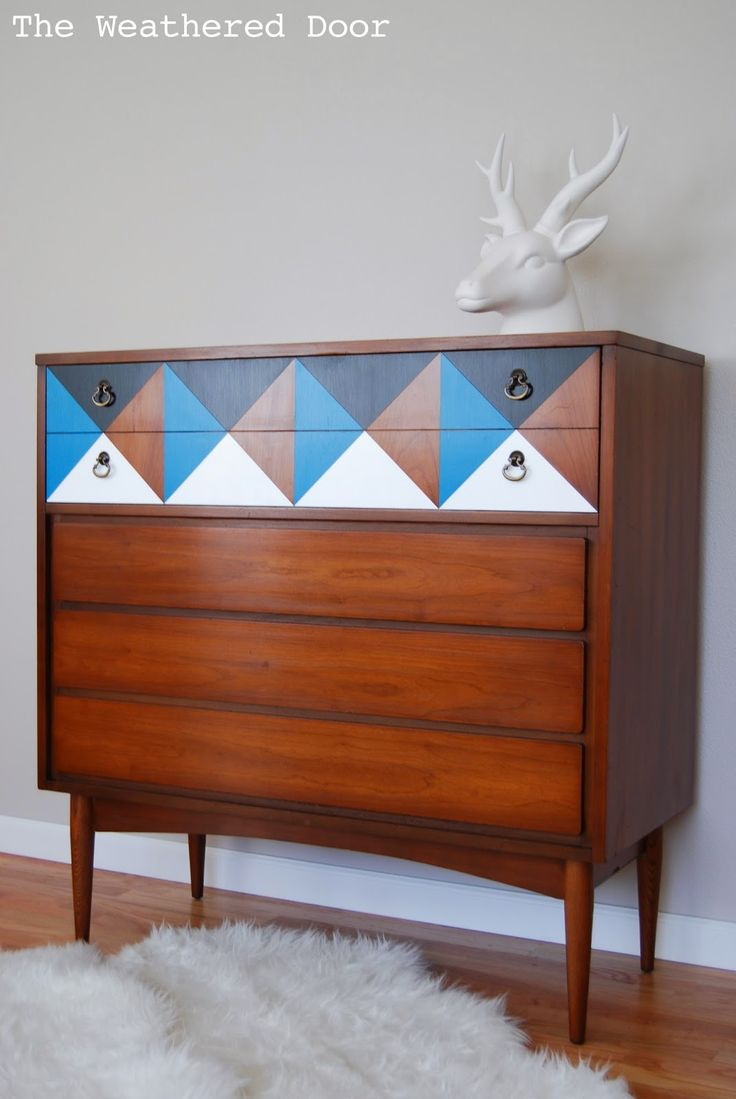Lacquered made in spain wood modern platform bed with tiles milwaukee - Geometric Mid Century Dresser Wd 3