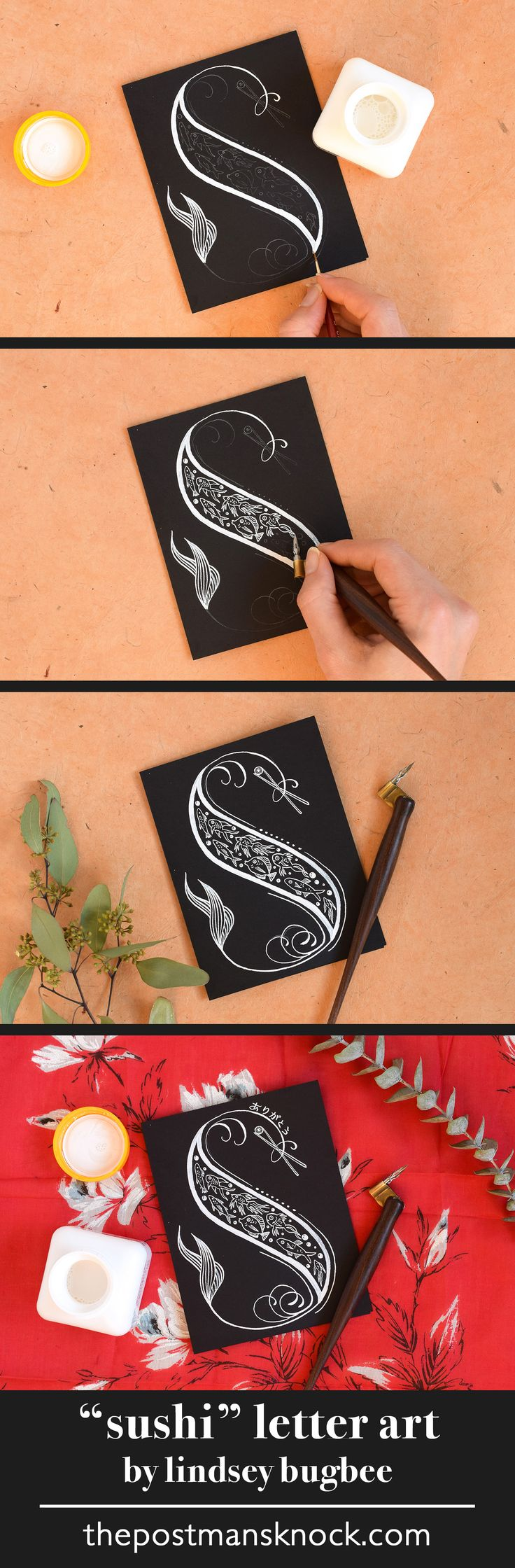 """""""Sushi"""" letter art made with white calligraphy ink"""
