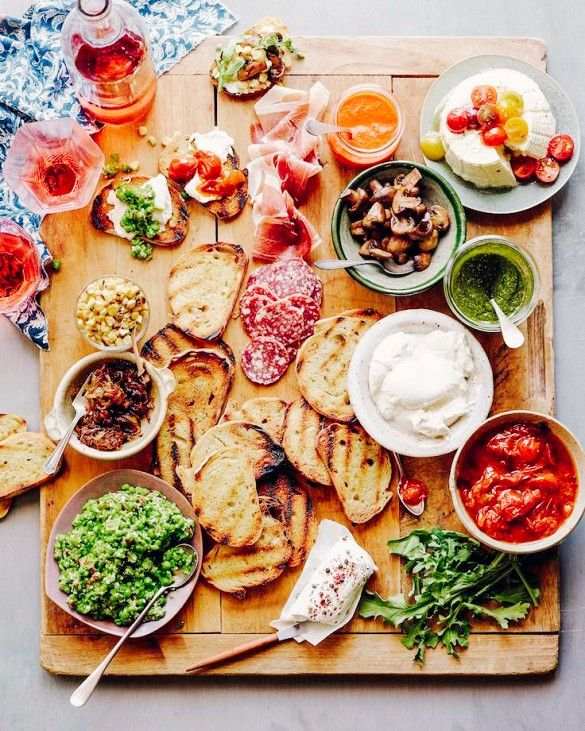Try a savory plate by including perfectly toasted bread slices, roasted veggies, pesto spreads and confits, prosciutto, and more. Any variety of cheese will do, but a burrata and spreadable goat cheese work especially well.