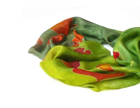 Green ginkgo hand painted silk scarf   #ginkgo #green #autumn #spring #silk #scarf #painted