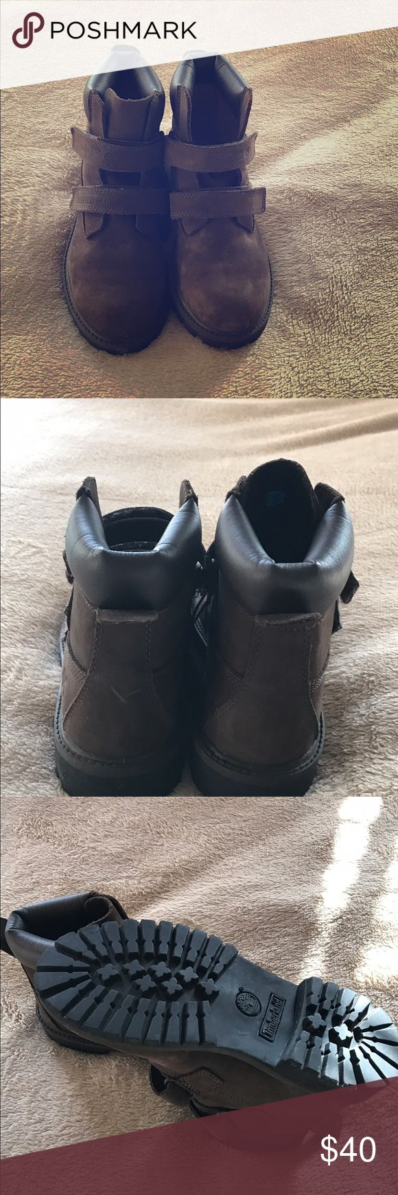 Boys Timberland boots Dark brown Timberland boots with Velcro closure. Timberland Shoes Winter & Rain Boots