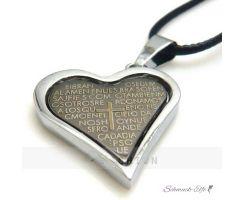 Herz Kette EDELSTAHL mit Kreuz  im weißen Organza Beutel