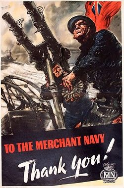 "Great Britain, ""To the Merchant Navy, Thank You!"" 1945. Artist: Harold Forster. Printed by Henry Hildesley Ltd., London"