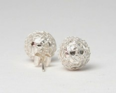 Killari sterling silver mesh ball earrings $49 | threads and style
