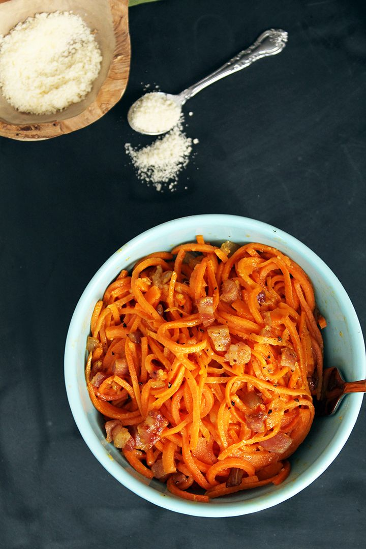 Sweet Potato spiralized pasta carbonara