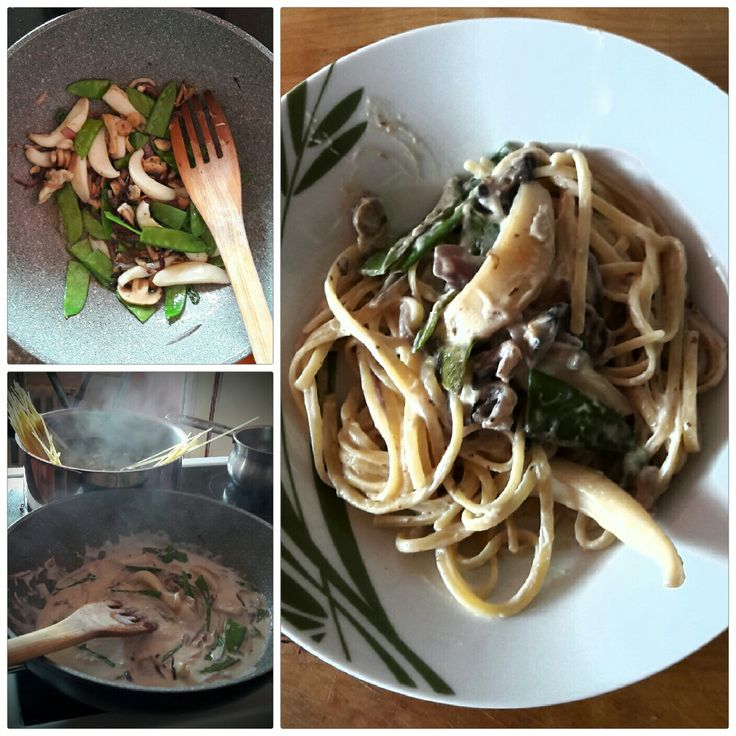 Gluten free Asian style: linguine with  octopus and green beens and coconut milk
