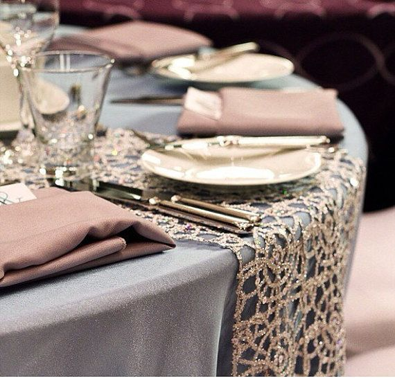 Gorgeous Champagne Lace table runners! Perfect touch of elegance and sparkle! 12x72 or 14x72 (Also Available in Gold & Silver) Allow 2 week