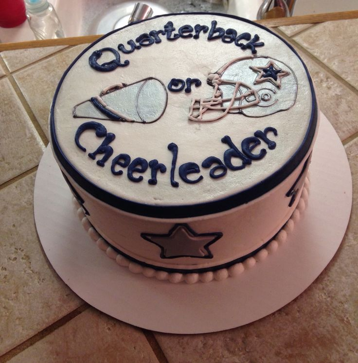 Gender Reveal Cake. Dallas Cowboys!
