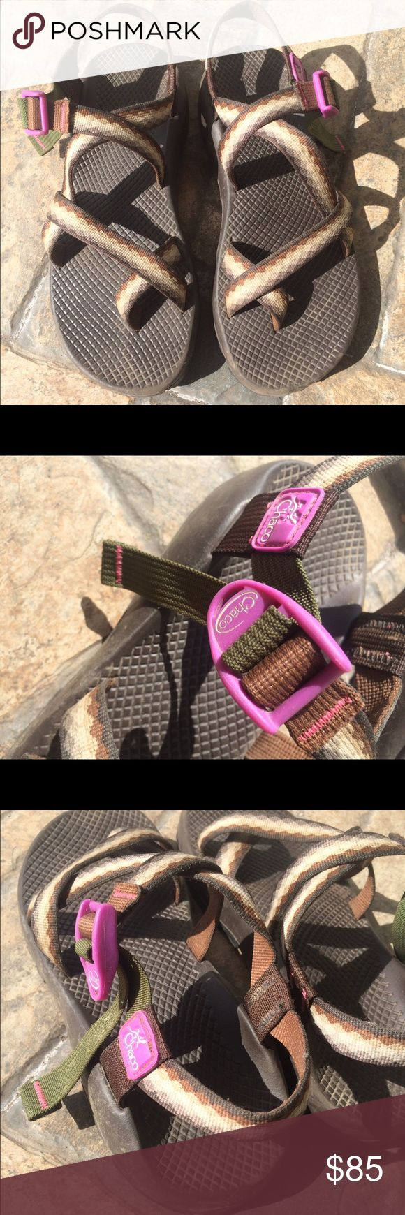 Women's Chaco Sandals Size 10 Custom Chacos with chocolate footbed and black heavy duty hiking sole. Purple buckle and hunter green strap. I have only worn them hiking a few times. They are too big. Chacos Shoes Sandals
