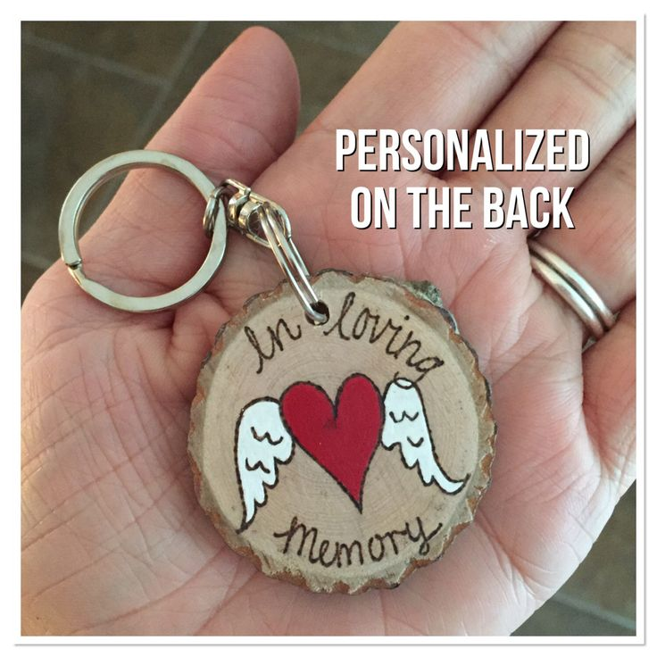 A personal favorite from my Etsy shop https://www.etsy.com/listing/465535536/personalized-heart-with-wings-key-chain