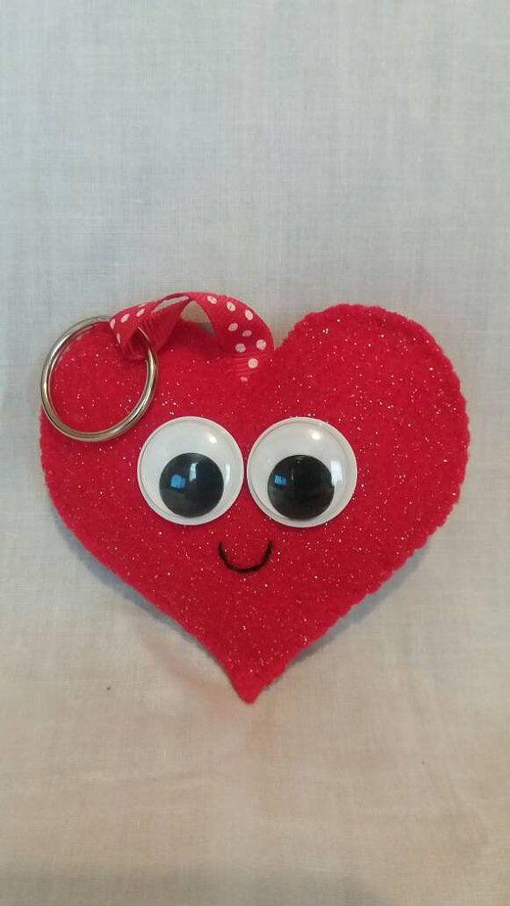Felt Heart Keyring  Cute Heart  Handmade by CarrotTopsCharacters