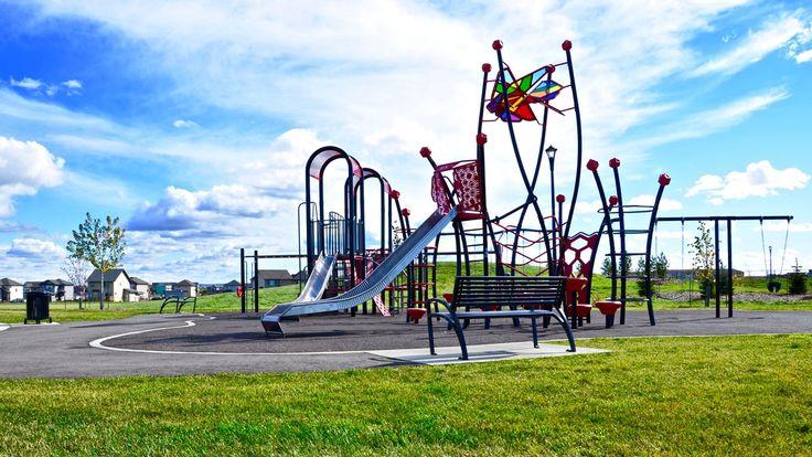 Wishbone All Metal Modena #Park #Benches at #CYBecker Subdivision in #CityofEdmonton, Alberta  #sitefurniture #madeincanada